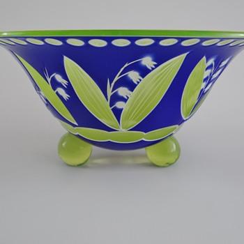 """Loetz - cut glass """"annagelb a. weissemail, dunkelblau"""" - Art Glass"""