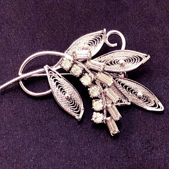 Early Sherman Brooch Later 1940's, Silver - Costume Jewelry