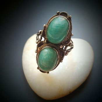 Arts and Crafts amazonite silver double shank ring. - Fine Jewelry