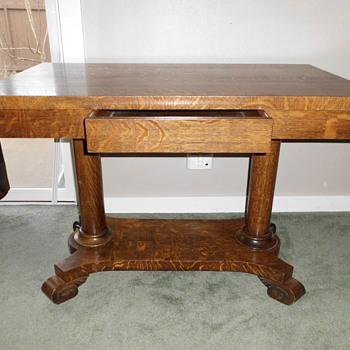 J.K. Rishel Library table, catalog #805, original tag and stencil - Furniture
