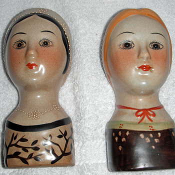 Lady Head Vase Wall Pocket Pair - Pottery