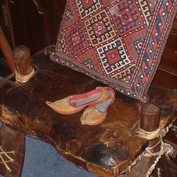 Antique Camel Saddle With Persian Slippers And Bedouin Fabric Throw Pillow - Sporting Goods