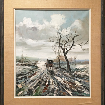 "Beautiful Oil Painting 17.5"" x 20.5"" image area in old wood frame. - Fine Art"