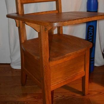 Vintage Solid Oak Right Arm Student Desk with Book Storage - Furniture