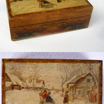 Small, decorated, Russian, wooden box. - Folk Art