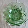 Green Depression Glass Holiday Bowl