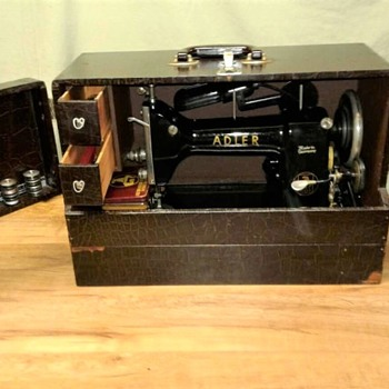"1950's Adler 87 Portable Sewing Machine with ""Tailor's Case"" - Sewing"