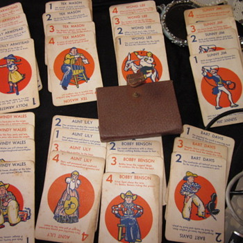 Antique Card Game - Sunny Jim 1-4 - Aunt Lily each has 4 cards w/ 8 different ones w/ a brown snap case. Any ideas? - Cards