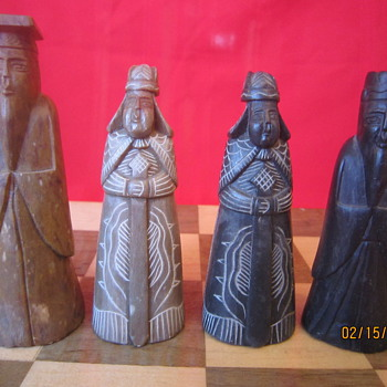 1940's Original Antique Hand Carved Painted Complete Korea Stone Chess Set - Games