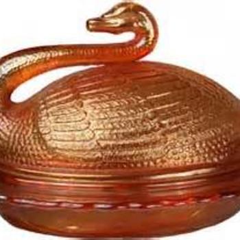 pumpkin carnival swan butter dish - Glassware