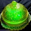 Lovely Davidson's Primrose Pearline Vaseline Glass Butter Dish