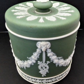 Wedgwood Jasperware Dipped Green Tobacco Jar - China and Dinnerware
