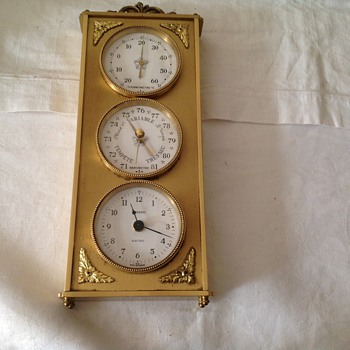 Vintage 1974 brass French Bayard mantle/wall clock with thermometer and barometer.