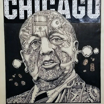 Vintage Chicago Mayor Daley early 1970's Original Illustration by Gary Viskupic  - Politics