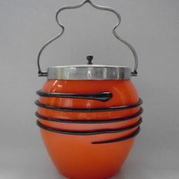 Czech Art Deco Tango Glass Biscuit Barrel