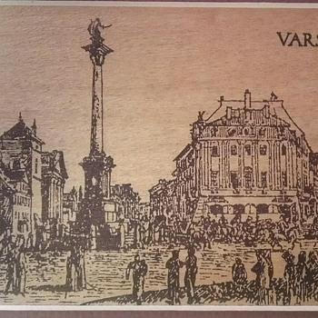 Ink drawn sketch of Warsaw palace square