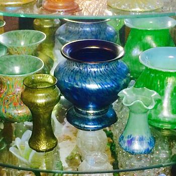 Loetz in Blues & Greens Bronce Glatt Vases  - Art Nouveau