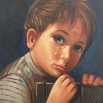 Painting of crying girl - Fine Art