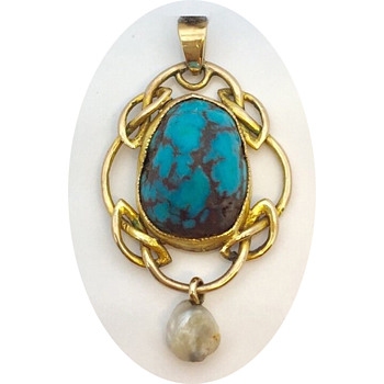 Early Archibald Knox Turquoise & Gold Pendant for Liberty & Co  - Arts and Crafts