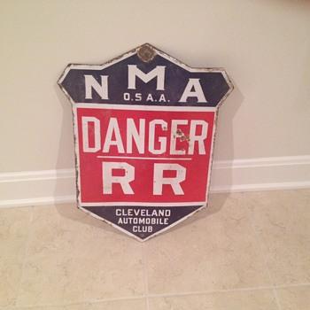 Porcelain railroad danger sign - Railroadiana