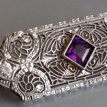 1920's Art Deco Diamond and Amethyst 14kt Brooch or Pendant - Art Deco