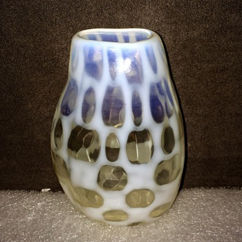 "Unknown Bohemian? French? Opalescent Harlequin? Vase 4.35""  - Art Glass"