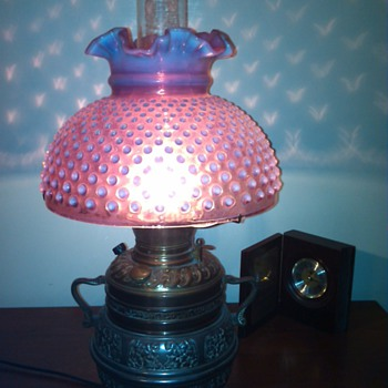 Fenton Cranberry Gone with the Wind Hobnail lamp - Lamps