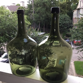 "16"" Demijohn Olive Green Bottles Matching Pair! - Bottles"