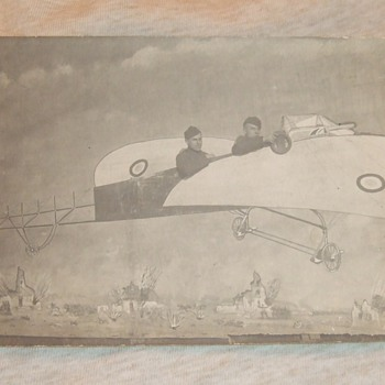 WW1 soldiers RPPC in prop plane