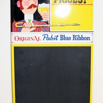 """Pabst Blue Ribbon Chalkboard / MenuBoard """"Now at Popular Prices"""" - Breweriana"""