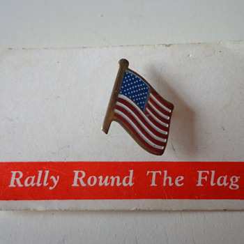 Vintage Rally Round The Flag Pin - Medals Pins and Badges