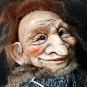 hand sculptured fairy tale troll puppets - Dolls