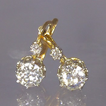 Antique Victorian Old Mine Cut Pair Diamond 14k Earrings 1.75ctw  - Fine Jewelry