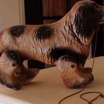 "Vintage ""See-Em-Walk"" dog pull toy made by Noma Products in the 1940s"