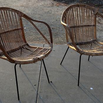 Midcentury Rattan and Iron Hairpin Garden Chairs