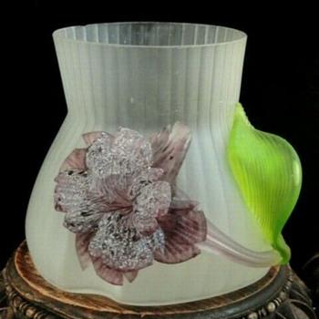 Kralik Satin Art Nouveau Vase with Applied Flower #2 - Art Glass
