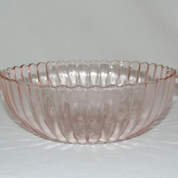 "Pink Ribbed Glass Bowl 10.25""  - Kitchen"