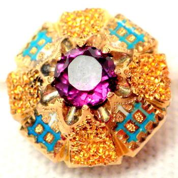 ??? Vintage Amethyst Stud, Button, Cufflink?   - Fine Jewelry