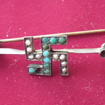 Turquoise swastika pin - Costume Jewelry