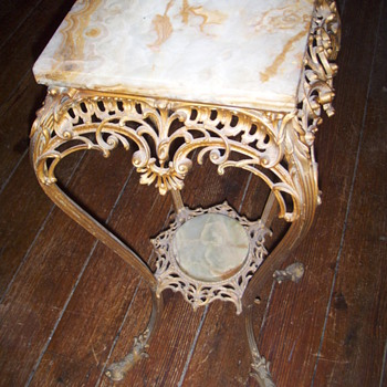 Iron french style marble table
