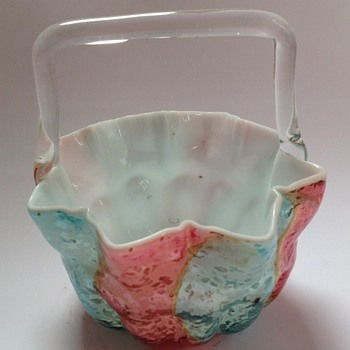 Victorian pink & blue striped cased glass basket with mica spangles - Art Glass