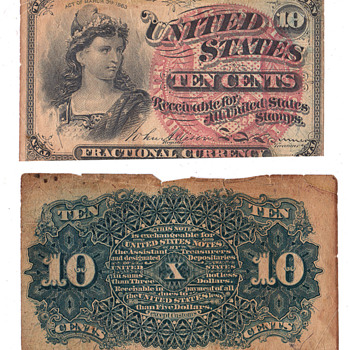 10 cent fractional 10 cent bill 1863 - US Paper Money