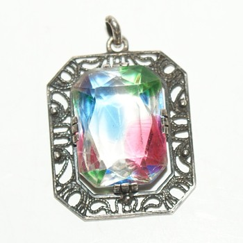 Vintage Rainbow Glass Filigree Pendant - Costume Jewelry