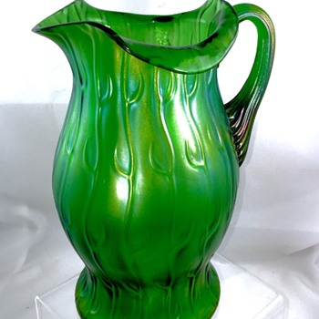 Loetz Creta Neptun Green Iridescent Pitcher, Series II, Ca 1903 - Art Nouveau