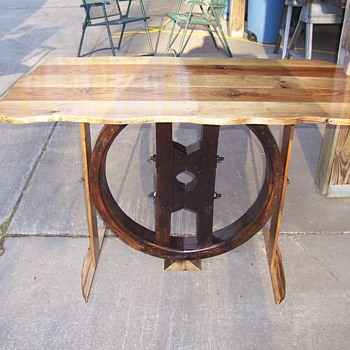 Old wooden pulley-- table - Furniture
