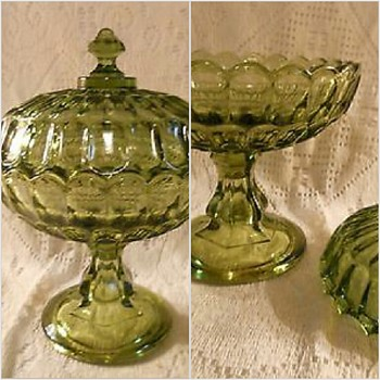 Green Covered Dish - Glassware