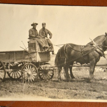 Old photos of trains, horses and wagons...