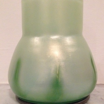 Iridescent glass urn with applied green tadpoles moulded into base - Art Glass