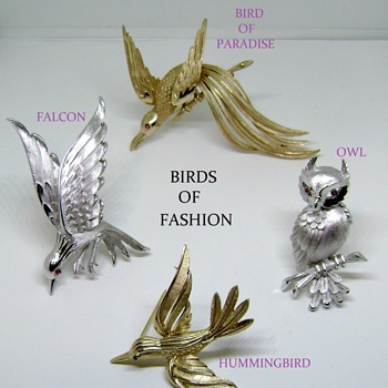 Trifari Brooch Set - Birds of Fashion Collection - Costume Jewelry