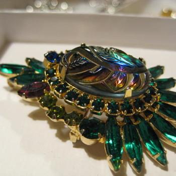JULIANA Ref # 6135 Peacock Brooch - Costume Jewelry